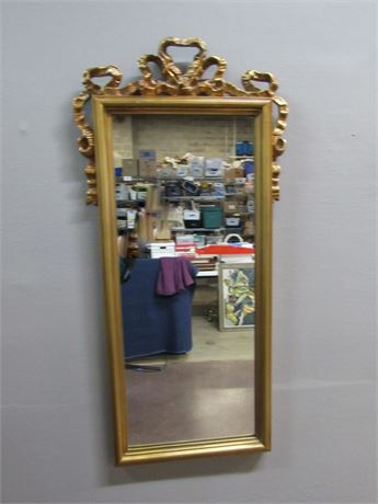 Nice Ribbon-Top Mirror with Gold Finished Framed
