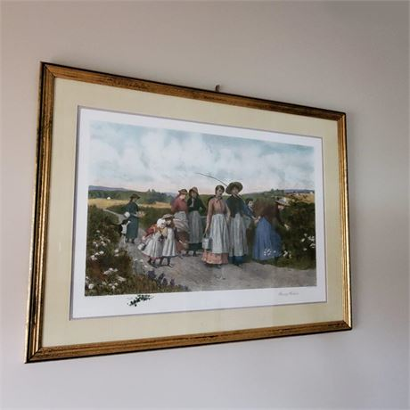 Berry Pickers Framed Print by Jennie Brownscombe