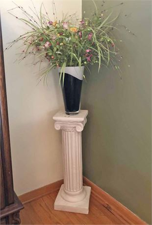 Roman Column Stand and Floral Vase Arrangement
