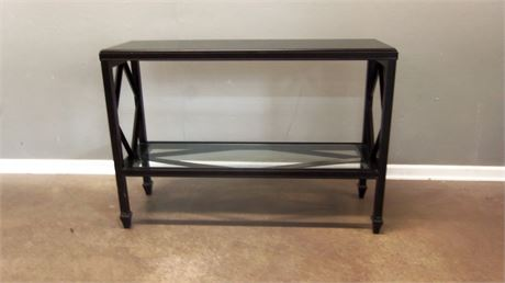 Black Console Table with glass shelf.