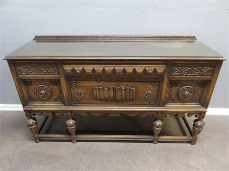 Vintage Oak Jacobean Style Buffet Cabinet