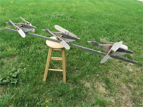 Vintage Folk Art Whirlygig - 3 Flying Ducks