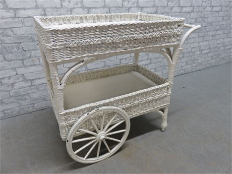 Vintage Mid-Century HEYWOOD WAKEFIELD? White Wicker Tea Cart