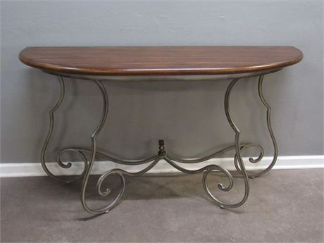 Nice Wrought Iron Console/Sofa Table with Wood Top