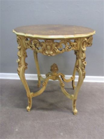 Antique Ornate Parlor Table with Floral/Rose Inlay Top