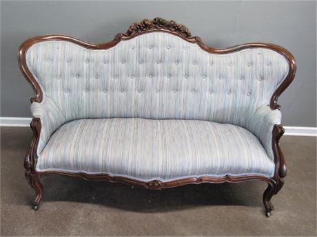 Antique Camel Back Wood Trimmed Sofa - Beautiful Carved/Wood Details