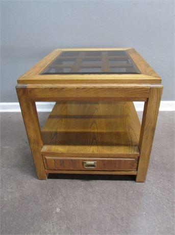 Oak End Table Lattice Top with Smoked Beveled Glass Top
