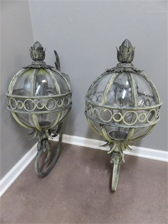 Large Outdoor Iron Sconce Globe Lights