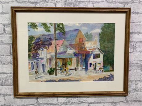 """Vibrant Water Color Wall Art """"Shopping in Greenville"""" Local Artist"""