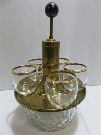 Vintage Mid-Century PARK SHERMAN Liquor Pump Decanter & Glasses