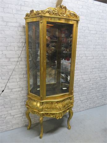 French Provincial Gold Leaf Curio Cabinet