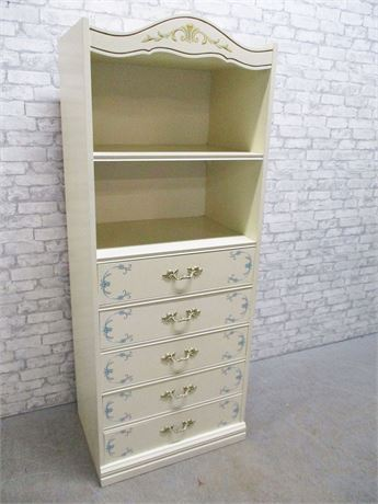 BLUE AND IVORY FRENCH PROVINCIAL 5-DRAWER CHEST WITH HUTCH