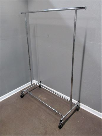 Adjustable Chrome Clothes Rack on Casters