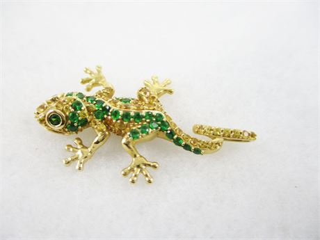 14K YELLOW GOLD LIZARD PENDANT WITH EMERALDS