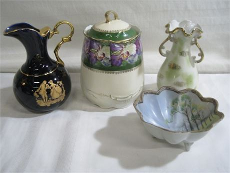 4 PIECE POTTERY LOT - INCLUDING LIMOGES CASTEL AND NIPPON