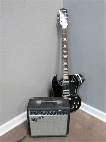 Nice Epiphone Black Solid Body Guitar with Cases & Fender Squire Champ 15 AMP