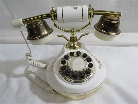 VINTAGE CERAMIC VICTORIAN STYLE FLORAL MOTIF TOUCH-TONE PHONE