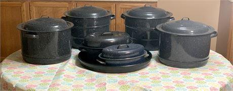Lot of Granite Ware Pots