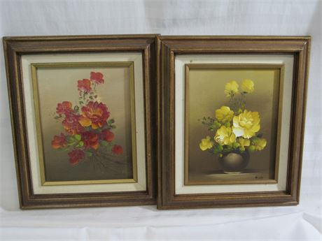 2 SIGNED OIL ON CANVAS FLORAL PAINTINGS BY GIDDY