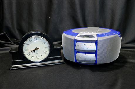 Vintage Mini Boombox (CD/Radio) And Mantle Clock