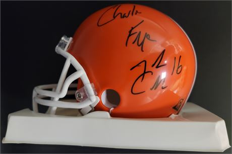 Joshua Cribbs, Charlie Frye, and Kamerion Wimbley Signed Cleveland Browns Mini