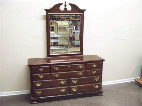 SUMTER CABINET CO. CHIPPENDALE STYLE DRESSER WITH BEVELED GLASS MIRROR