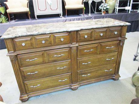 6-DRAWER DRESSER WITH MARBLE TOP BY SUMTER