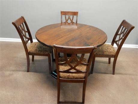 Ashley Furniture Wood Pedestal Table and Chairs Set
