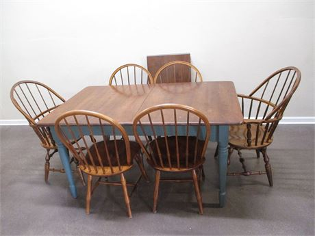 NICHOLS AND STONE TABLE AND 6 CHAIRS (PLUS ONE LEAF)
