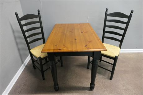 Pine & Black Table with Rattan woven Chairs