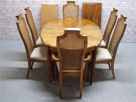 STANLEY FURNITURE DINING ROOM TABLE AND 6 CANE BACK CHAIRS