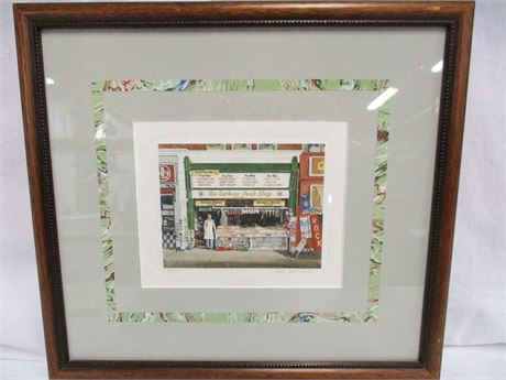 """THE HARBOUR ROCK SHOP"" PRINT #238/750 SIGNED BY ALAN PERCY WALKER"
