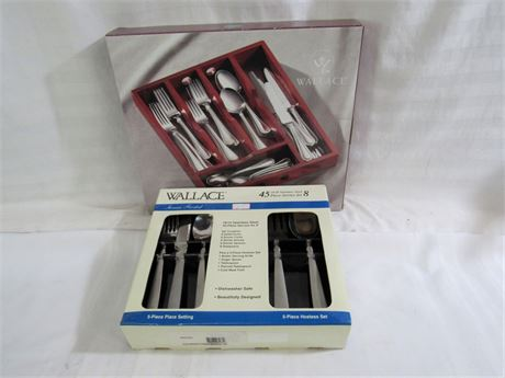NIB - Wallace 8 Place Setting Stainless Flatware Set and Flatware Caddy