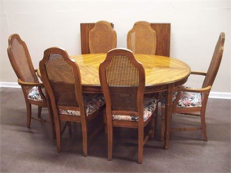 STANLEY FURNITURE DINING TABLE WITH 6 CANE-BACK CHAIRS