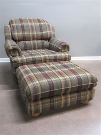 Smith Bros. of Berne Comfy Plaid Upholstered Occasional Chair with Ottoman