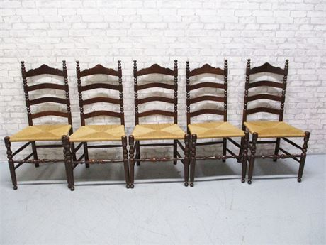 LOT OF 5 RUSH SEAT LADDERBACK CHAIRS