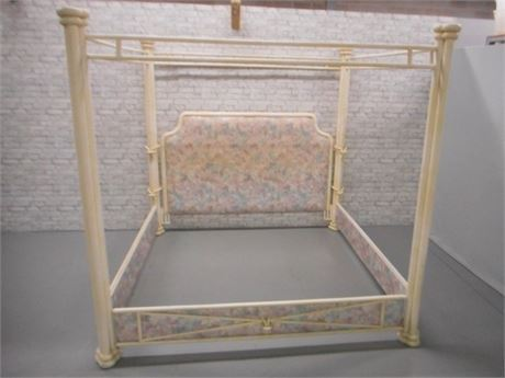 STUCCO/TEXTURED METAL CANOPY KING BED WITH FABRIC COVERED FOOT HEADBOARD & RAILS