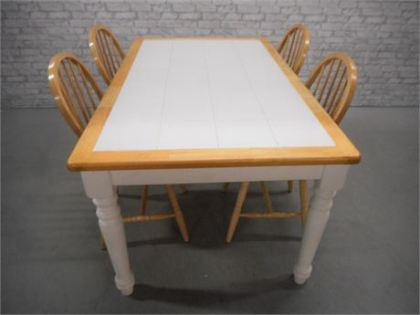 TILE TOP DINETTE TABLE WITH  4 WINDSOR CHAIRS