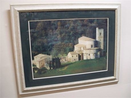 FRAMED AND DOUBLE MATTED PHOTO - ABBEY OF SANT'ANTIMO - ITALY