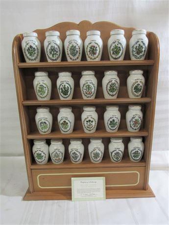 Franklin Mint - Gloria Vanderbilt Porcelain Spice Jar Collection with Rack