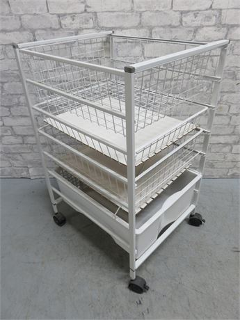 Metal Wire Mesh Rolling Storage Cart