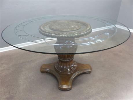 Glass Top Pedestal Table