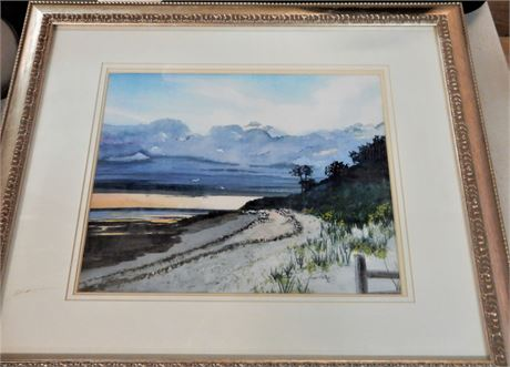 Watercolor Beach Scene Framed