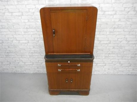 GREAT LOOKING  ART DECO HAMILTON - DONALD DESKEY WALNUT PHYSICIANS CABINET/HUTCH