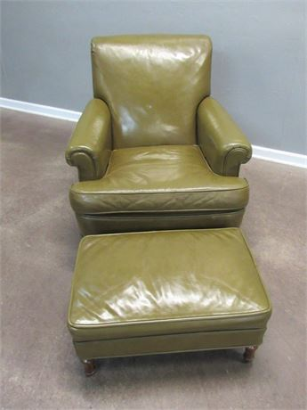 Vintage Heinrich Upholstery Co. Leather Lounge Chair and Ottoman