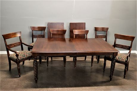 Ethan Allan Wood Dining Room Table with 2 Leaves and 6 chairs