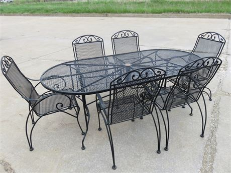 Wrought Iron 7-Piece Patio Set