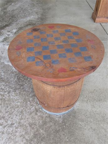 Wood Barrel with Checkerboard Table Top