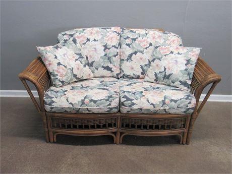 Ayers Furniture Rattan Sun Room Loveseat Floral Fabric Cushions Matching Pillows