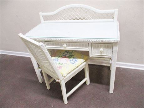 WICKER DESK WITH GLASS TOP AND CHAIR